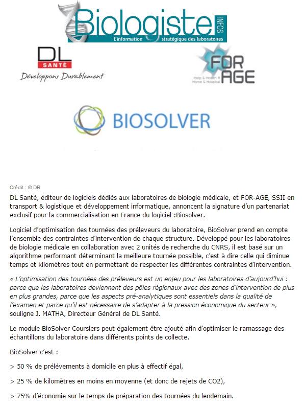 Biologistes Info Partenariat DL SAnté - FOR-AGE pour BioSolver
