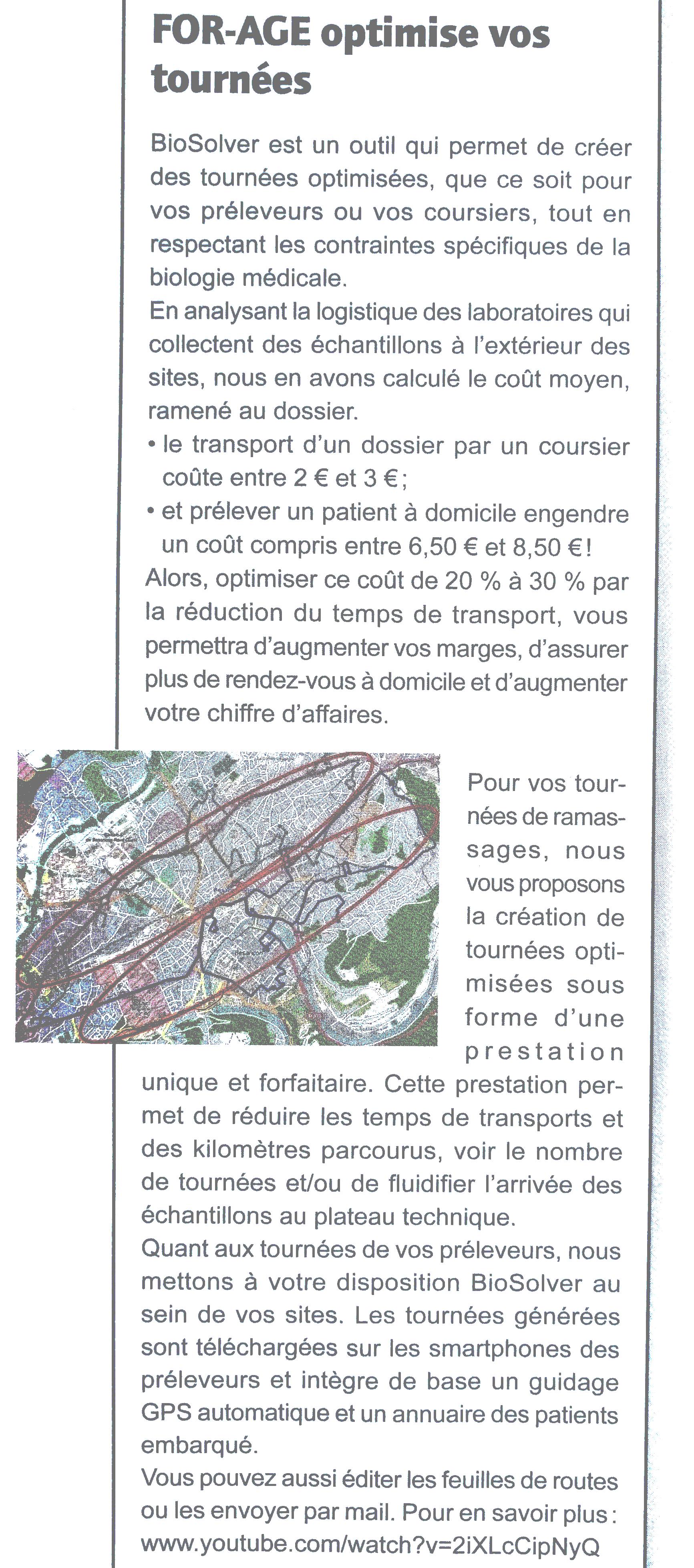 Article Biologiste Infos éditeur Juin - Juillet 2016