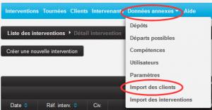 Accès au module d'import des clients dans BIOSOLVER